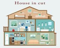 Huis in besnoeiing Gedetailleerd vlak stijlbinnenland Reeks ruimten met meubilair Royalty-vrije Stock Fotografie
