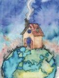 Huis bij de bovenkant van de wereld Royalty-vrije Stock Afbeelding