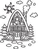 Huis bij de Dorpslijn Art Coloring Book Illustration Royalty-vrije Stock Afbeelding