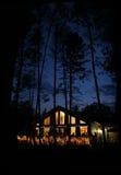 Huis bij Nacht Stock Afbeelding