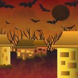 Huis bij nacht in Halloween Stock Fotografie