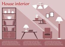 Huis binnenlandse infographic in vlakke stijl met Stock Afbeelding