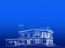 Huis in blauw vector illustratie