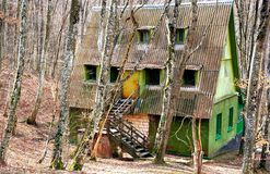 Huis in bos Stock Afbeelding