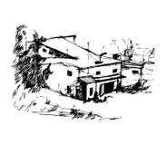 Huis in bos, vectorillustratie Stock Fotografie