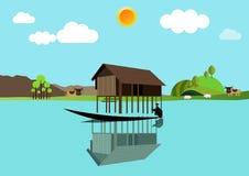 Huis boven het water Royalty-vrije Stock Foto's