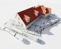 Huis bovenop blauwdrukken Royalty-vrije Stock Afbeelding