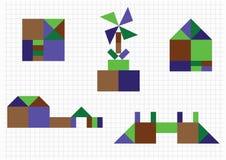 Huis, brug, molen, geometrische vormen Royalty-vrije Stock Foto's