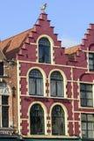 Huis in centraal marktvierkant, België, Vlaanderen, Brugge Stock Foto's