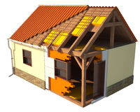Huis dat door lagen, hoofd zichtbare structuur wordt getoond Royalty-vrije Stock Foto