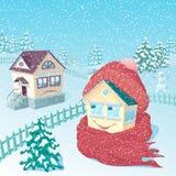 Huis dat omhoog in een warme gebreide sjaal en een GLB wordt verpakt Royalty-vrije Stock Afbeelding