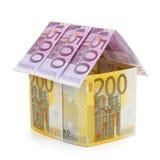 Huis dat van euro bankbiljetten wordt gemaakt. Royalty-vrije Stock Fotografie