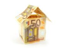 Huis dat van euro wordt gemaakt royalty-vrije stock foto's