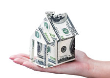 Huis dat van in hand geld wordt gemaakt Royalty-vrije Stock Afbeeldingen
