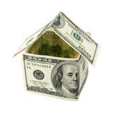 Huis dat van honderd dollarsnota's wordt gemaakt Royalty-vrije Stock Foto