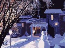 Huis dat voor Kerstmis wordt verfraaid vector illustratie