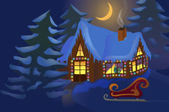 Huis dat voor Kerstmis wordt verfraaid Royalty-vrije Stock Afbeeldingen
