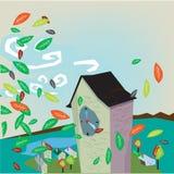 Huis in de herfst Royalty-vrije Stock Afbeeldingen