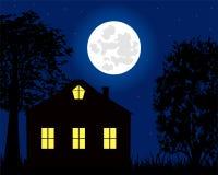 Huis in de Nacht Stock Foto