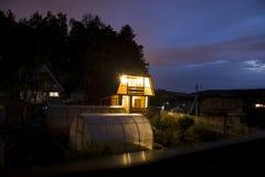 Huis in de Nacht Royalty-vrije Stock Fotografie