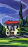 Huis in de Provence Het schilderen Royalty-vrije Stock Foto