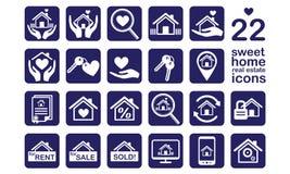 Huis, de reeks van het Onroerende goederenpictogram Stock Afbeeldingen
