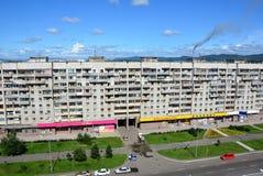 Huis in de stad van komsomolsk-op-Amur, Rusland Stock Fotografie