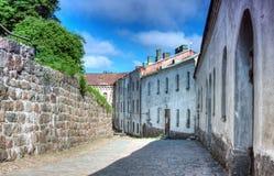 Huis in de straat het middeleeuwse kasteel Royalty-vrije Stock Foto