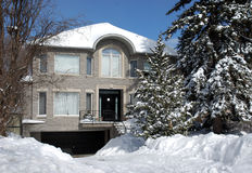 Huis in de winter met pijnboombomen Royalty-vrije Stock Afbeeldingen
