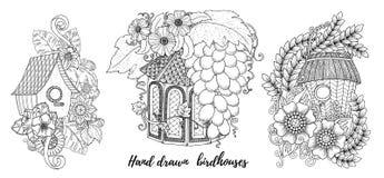 Huis, de zoete kaarten van de huisuitnodiging Bloemen nodigt, bohostijl uit Kleurende boekpagina stock illustratie