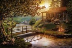 Huis dichtbij een stroom stock illustratie