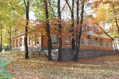 Huis door de bomen Royalty-vrije Stock Afbeelding