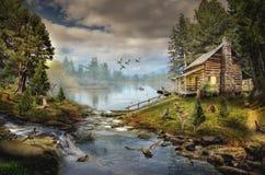 Huis door de Kreek Stock Fotografie