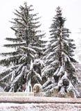 Huis door sneeuw wordt verborgen die stock fotografie