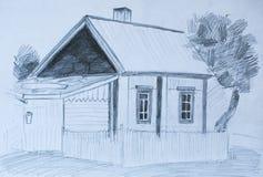 Huis in dorp, potloodschets Stock Fotografie