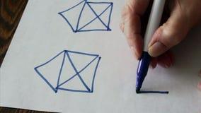 Huis drawingDraw het huis met één ononderbroken line4-opties stock videobeelden