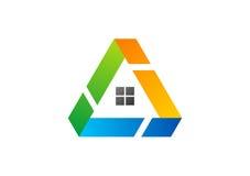 Huis, driehoek, embleem, de bouw, onroerende goederen architectuur, huis, bouw, het ontwerpvector van het symboolpictogram Royalty-vrije Stock Foto's