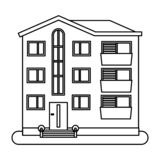 Huis in dunne lijnstijl stock illustratie