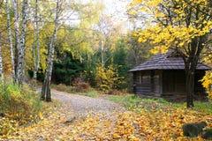 Huis in een bos - het Landschap van de Herfst royalty-vrije stock foto's