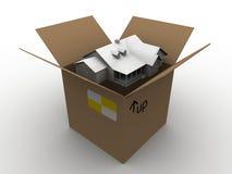 Huis in een doos Stock Foto