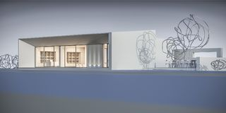 Huis in een minimalistische stijl toonzaal het 3d teruggeven Stock Afbeelding