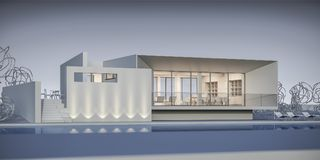 Huis in een minimalistische stijl toonzaal het 3d teruggeven Stock Foto