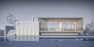 Huis in een minimalistische stijl toonzaal het 3d teruggeven Royalty-vrije Stock Afbeeldingen