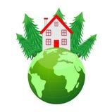 Huis en aarde op een witte achtergrond Stock Fotografie