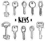 Huis en auto zeer belangrijke krabbels van hand getrokken sleutels stock illustratie