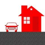 Huis en autoillustratie stock afbeeldingen
