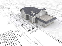 Huis en blauwdrukken Stock Foto