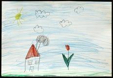 Huis en Bloem De tekening van het kind Royalty-vrije Stock Afbeeldingen
