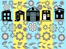 Huis en bloemen Stock Afbeelding