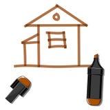 Huis en bruine teller Royalty-vrije Stock Afbeelding
